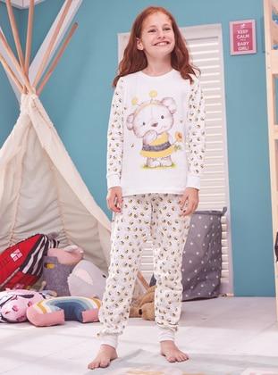 Multi - Crew neck - Cotton - Cream - Baby Pyjamas