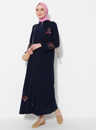 Navy Blue - Navy Blue - Unlined - Crew neck - Cotton - Abaya