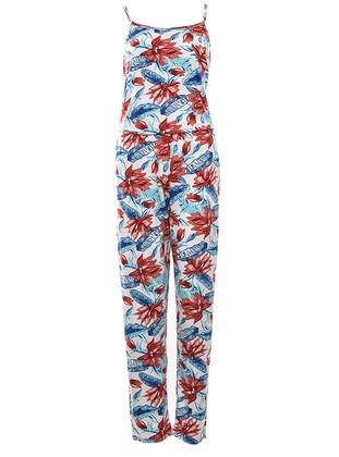 Multi - Sweatheart Neckline - Floral - Viscose - Pyjama