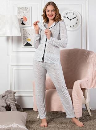 Blue - Multi - Viscose - Pyjama