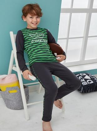 Stripe - Crew neck - Cotton - Green - Baby Pyjamas