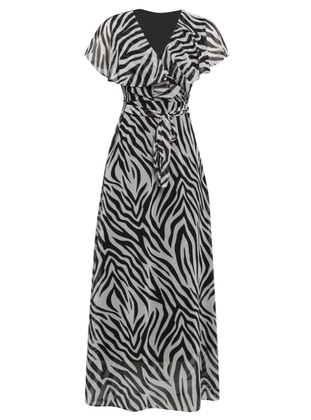 Ecru - Zebra - V neck Collar - Fully Lined - Dress