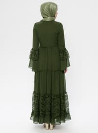 Khaki - Crew neck - Half Lined - Dress