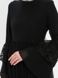 Black - Crew neck - Half Lined - Dress