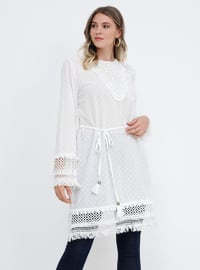 White - Ecru - Crew neck - Cotton - Plus Size Tunic