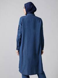 Blue - Polo neck - Cotton - Denim - Tunic