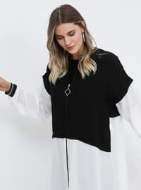 Black - White - Unlined - Crew neck - Plus Size Coat