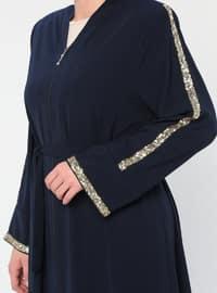 Navy Blue - V neck Collar - Unlined - Plus Size Abaya