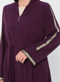 Plum - V neck Collar - Unlined - Plus Size Abaya
