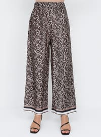 Brown - Leopard - Plus Size Pants