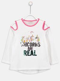 White - Crew neck - Girls` T-Shirt