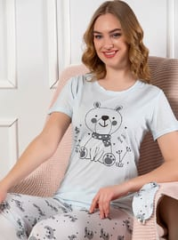 Blue - Crew neck - Multi - Viscose - Pyjama