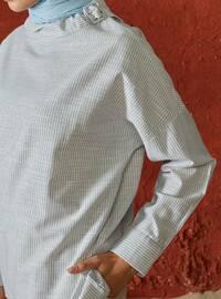 Stripe - Crew neck - Linen - Blouses - A point