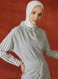 Black - Stripe - Crew neck - Linen - Blouses - A point