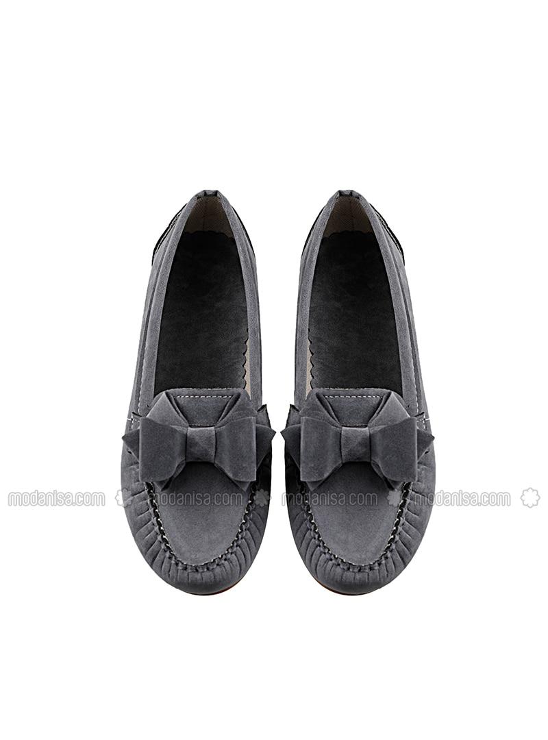 Gray - Flat - Flat Shoes