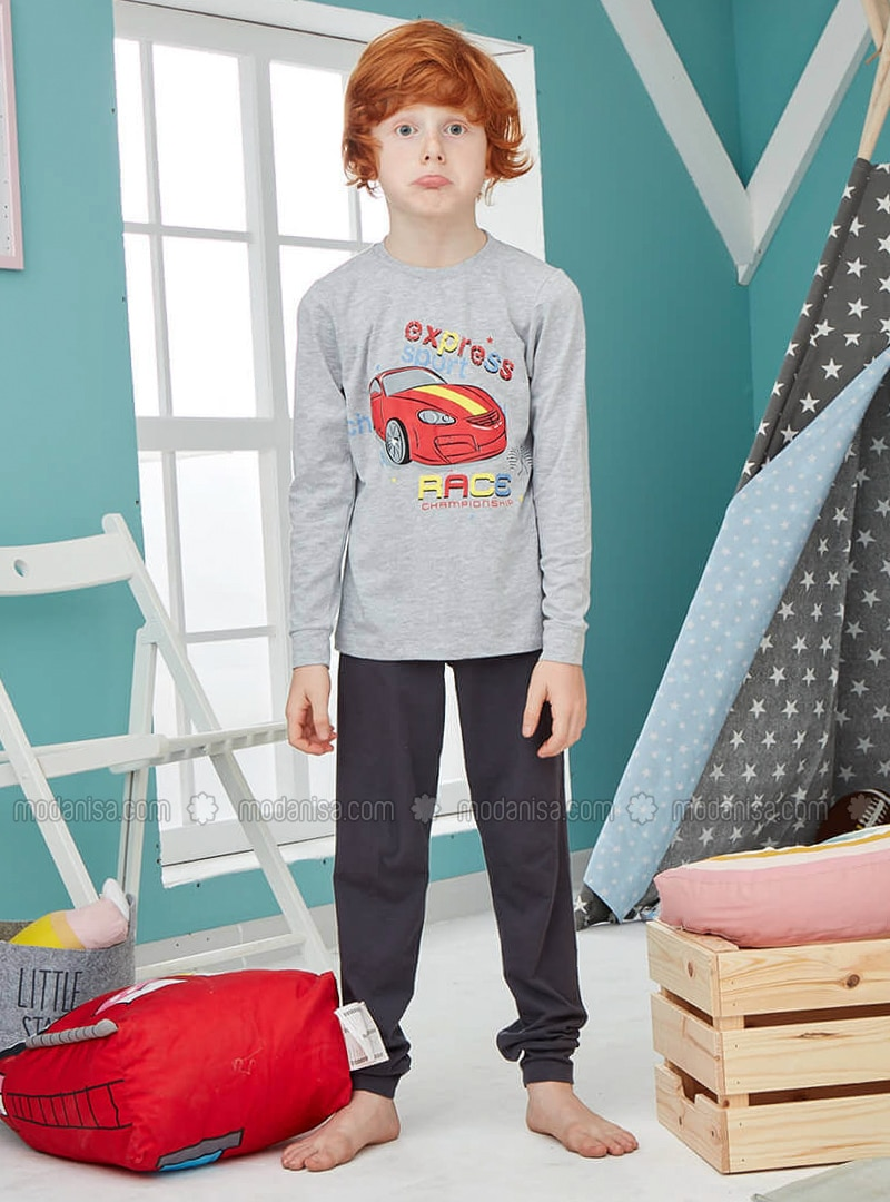 Crew neck - Cotton - Gray - Baby Pyjamas - Doni