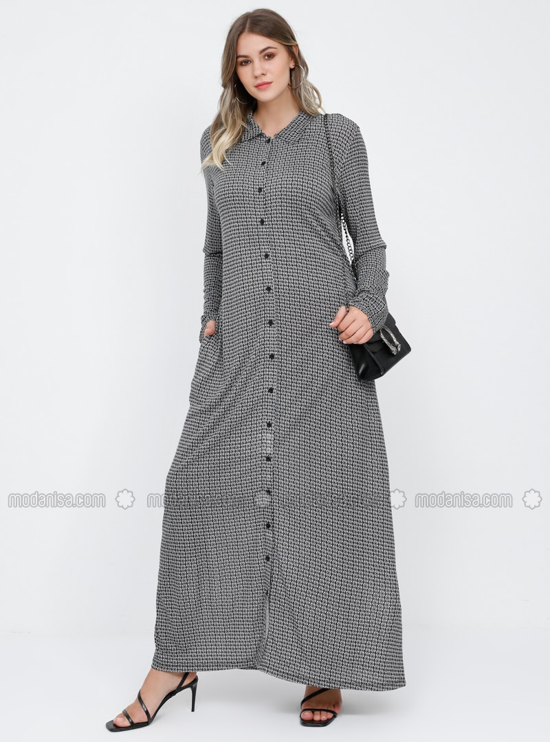 Black - White - Multi - Unlined - Point Collar - Viscose - Plus Size Dress