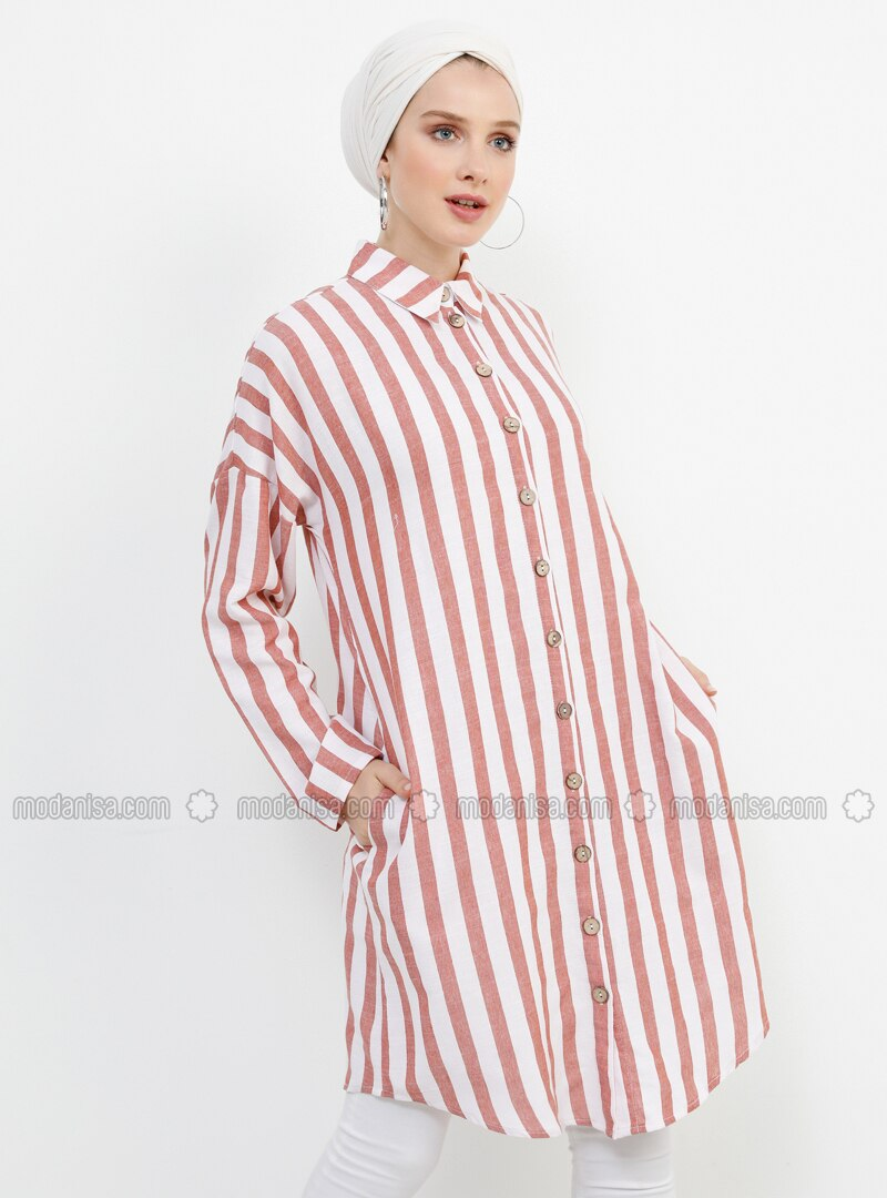 - Stripe - Point Collar - Cotton - Tunic