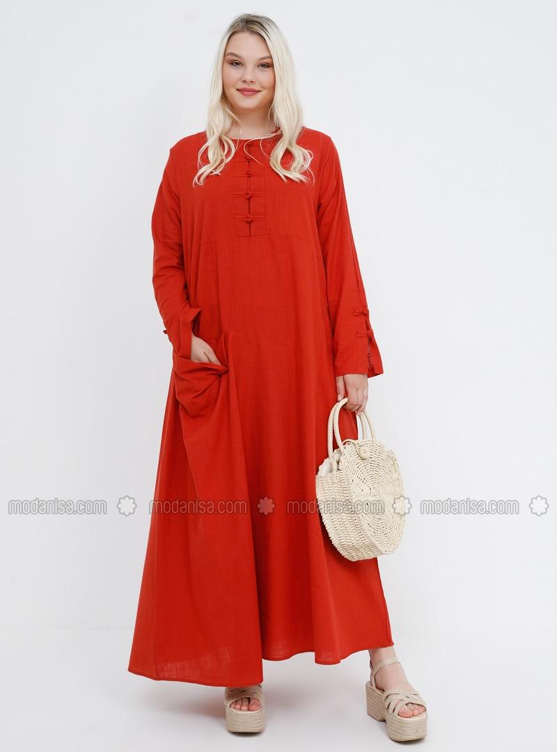 Coral - Unlined - Crew neck - Cotton - Plus Size Dress