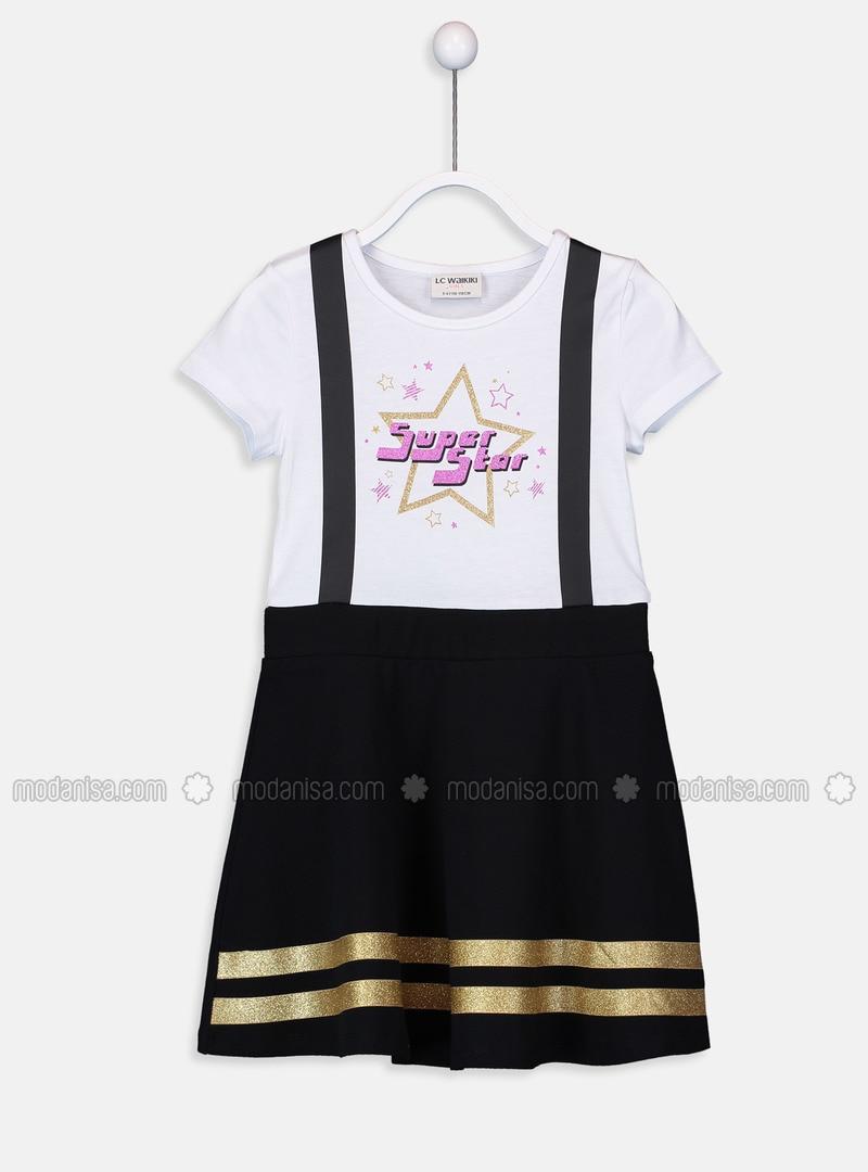 Black - Printed - Girls` Dress