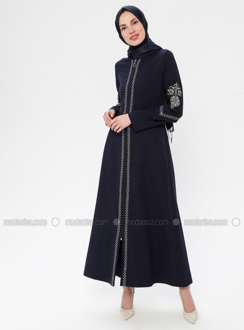 Navy Blue - Ethnic - Crew neck - Unlined - Dress