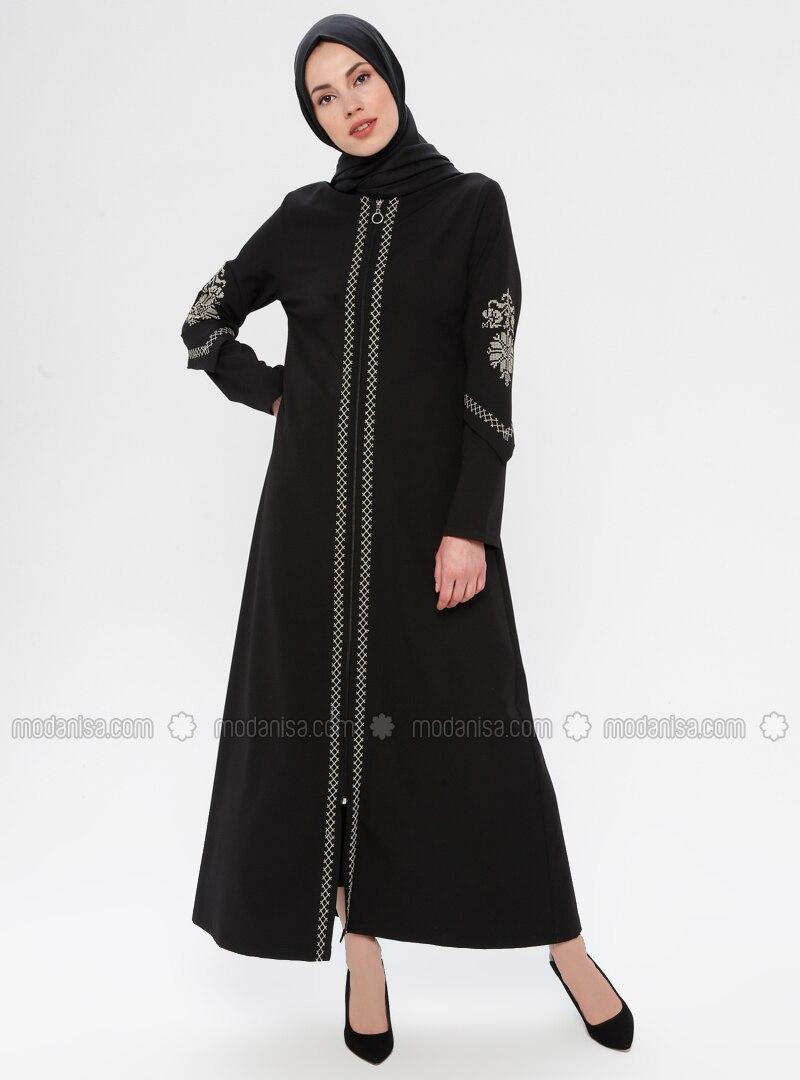 Black - Ethnic - Unlined - Crew neck - Topcoat