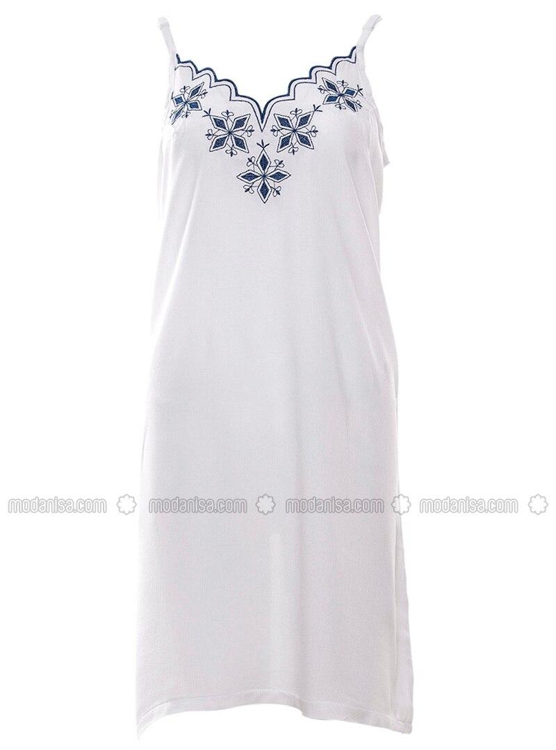 White - Multi - V neck Collar - Viscose - Nightdress