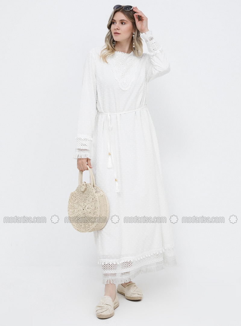 White - Ecru - Unlined - Crew neck - Cotton - Plus Size Dress