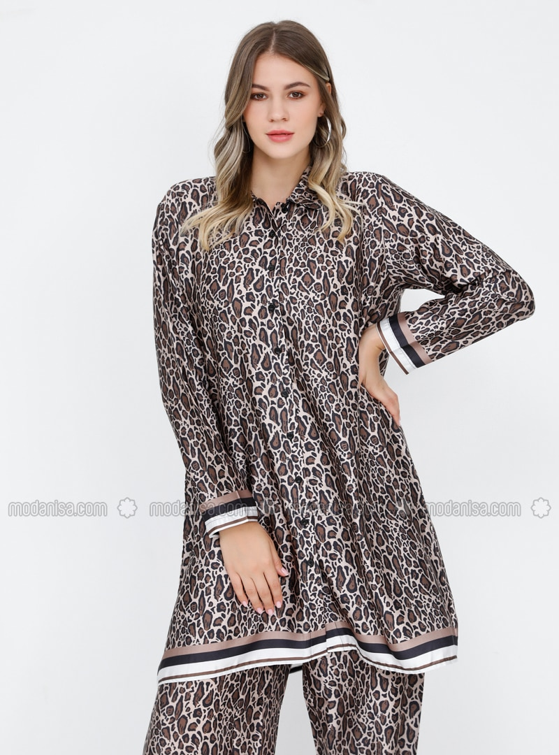 Brown - Leopard - Point Collar - Plus Size Tunic