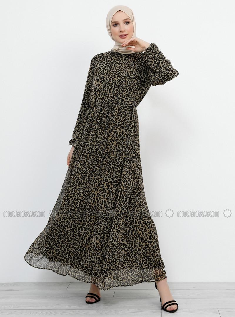 29f04ddfe252 MODANISA. Black - Leopard - Polo neck - Fully Lined - Dress