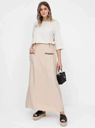 Beige - Unlined - Plus Size Skirt - Alia