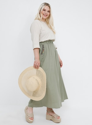 Khaki - Unlined - Cotton - Plus Size Skirt - Alia