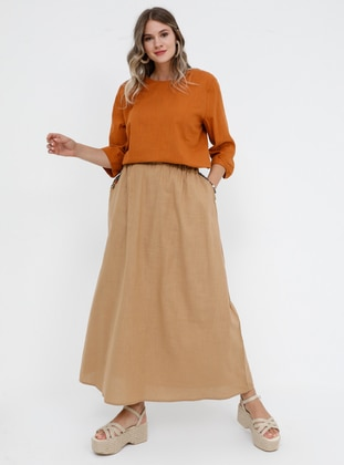 - Unlined - Cotton - Plus Size Skirt - Alia