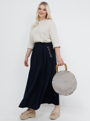 Navy Blue - Unlined - Cotton - Plus Size Skirt