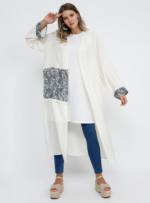 White - Ecru - Shawl - Unlined - Linen -  - Viscose - Plus Size Coat - Alia