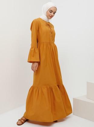 Mustard - Hac ve Umre - Crew neck - Unlined - Dress
