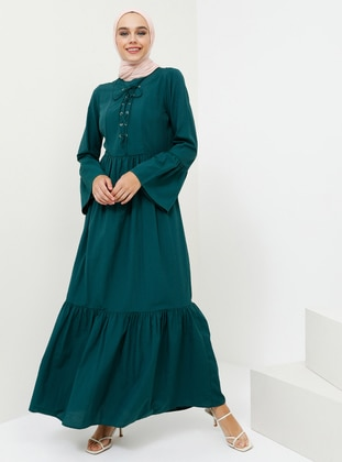 Green - Emerald - Hac ve Umre - Crew neck - Unlined - Dress