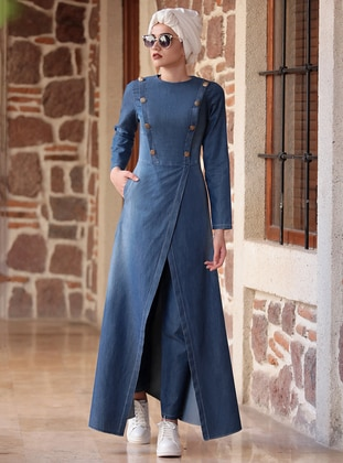 Blue - Navy Blue - Indigo - Unlined - Cotton - Denim - Suit - Piennar