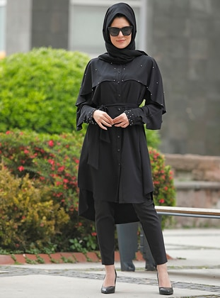 Black - Point Collar - Crepe - Plus Size Tunic