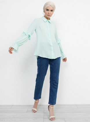 Green - Mint - Point Collar - Blouses