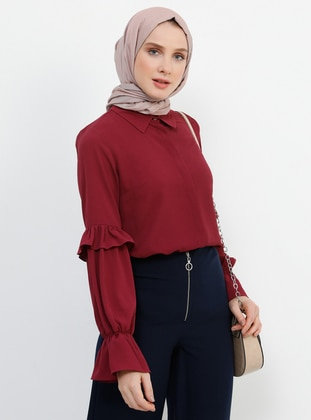 Plum - Point Collar - Blouses - Refka