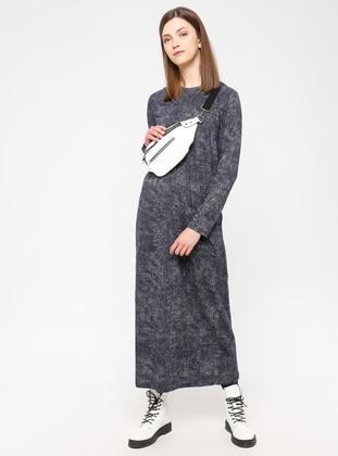 Anthracite - Cotton - Loungewear Dresses - Siyah inci
