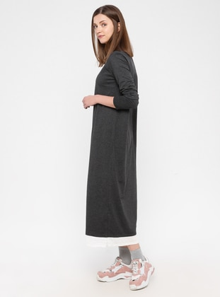 Anthracite - Cotton - Loungewear Dresses - Siyah inci