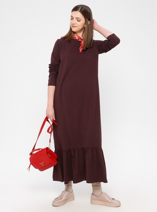 Maroon - Cotton - Loungewear Dresses - Siyah inci