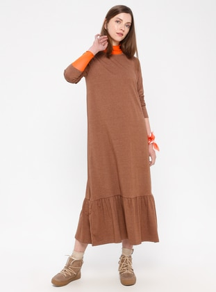 Brown - Cotton - Loungewear Dresses - Siyah inci