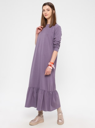 Lilac - Cotton - Loungewear Dresses - Siyah inci