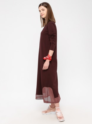 Plum - Cotton - Loungewear Dresses - Siyah inci