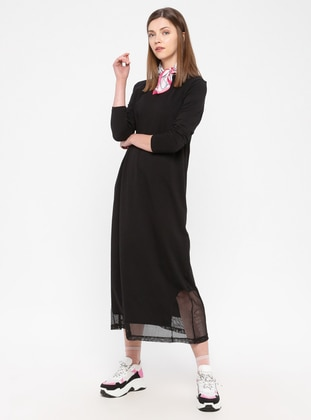 Black - Cotton - Loungewear Dresses - Siyah inci