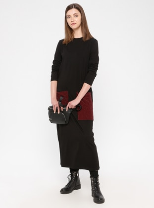 Black - Maroon - Cotton - Loungewear Dresses - Siyah inci