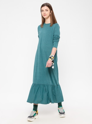 Green - Cotton - Loungewear Dresses - Siyah inci